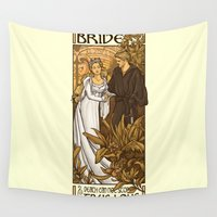 karen hallion Wall Tapestries featuring Bride by Karen Hallion Illustrations