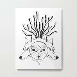 Wolf Princess (Black) Metal Print