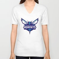 nba V-neck T-shirts featuring NBA - Hornets by Katieb1013