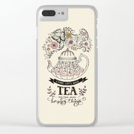 Tea and Happy Things Clear iPhone Case