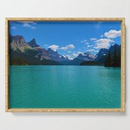 """Hall of Gods"" Maligne Lake in Jasper National Park, Canada Serving Tray"