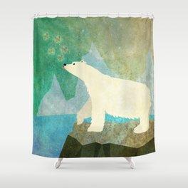 Playful Arctic Polar Bear Shower Curtain