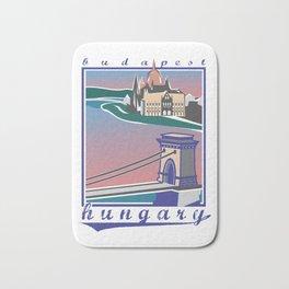 Budapest, Bridge, vintage colors Bath Mat