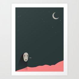 No Face and The Moon Art Print