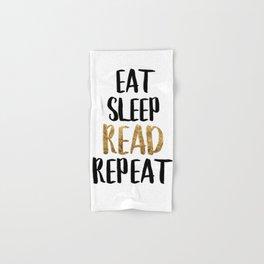 Eat Sleep Read Repeat Gold Hand & Bath Towel
