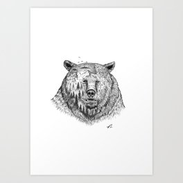 Grizzly forest Art Print