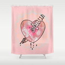 A Dagger through thine Heart Peach Pink Ink Print Shower Curtain