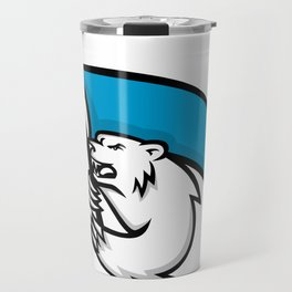 Angry Polar Bear Brandishing Flag Mascot Travel Mug