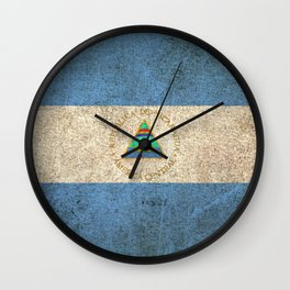 Old and Worn Distressed Vintage Flag of Nicaragua Wall Clock