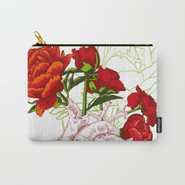 drawing Human heart with flowers Carry-All Pouch