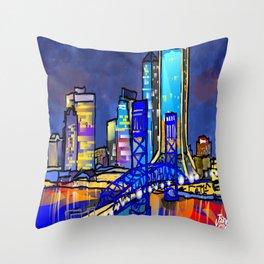 Dark Sky Cityscape Throw Pillow
