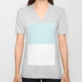 White and Light Cyan Horizontal Halves Unisex V-Neck