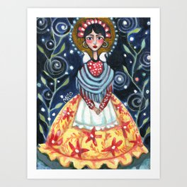 Frida at Night - A Frida Kahlo Tribute Painting Art Print