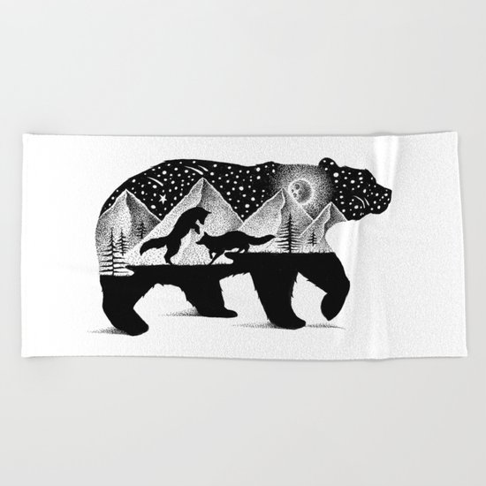 THE BEAR AND THE FOXES Beach Towel
