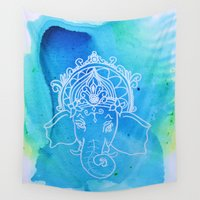 ganesh Wall Tapestries featuring Untitled (Elephant) by AriesArtNW.com