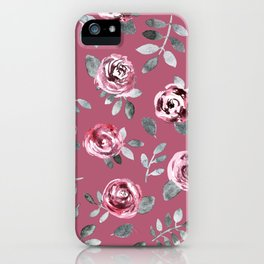 Modern hand painted pink gray watercolor roses iPhone Case