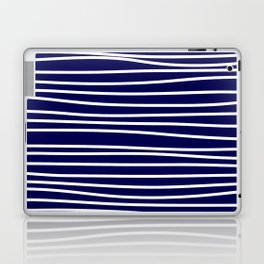 Navy Blue & White Maritime Hand Drawn Stripes- Mix & Match with Simplicity of Life Laptop & iPad Skin