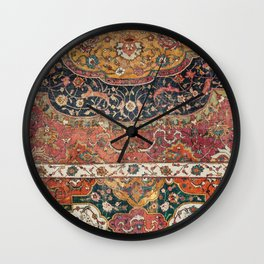 Persian Medallion Rug IX // 16th Century Distressed Red Green Blue Flowery Colorful Ornate Pattern Wall Clock