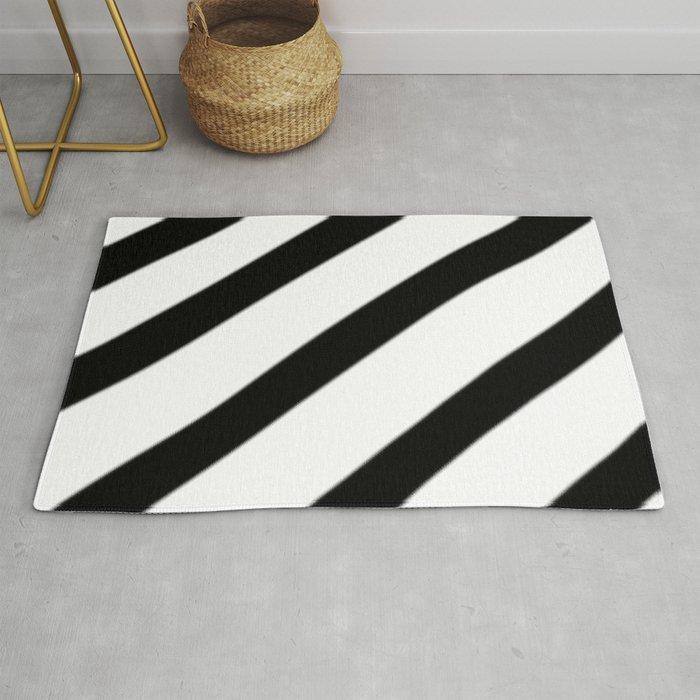 Soft Diagonal Black And White Stripes Rug