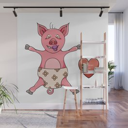 small pink piglet with diaper Wall Mural