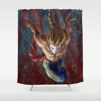street fighter Shower Curtains featuring Vega, Spanish Street Fighter- Desafío52 by Marcos Raya Delgado