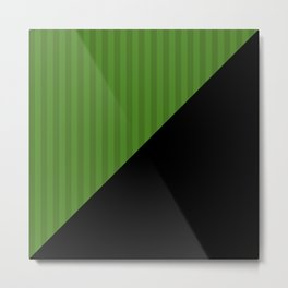 Black, green , striped Metal Print
