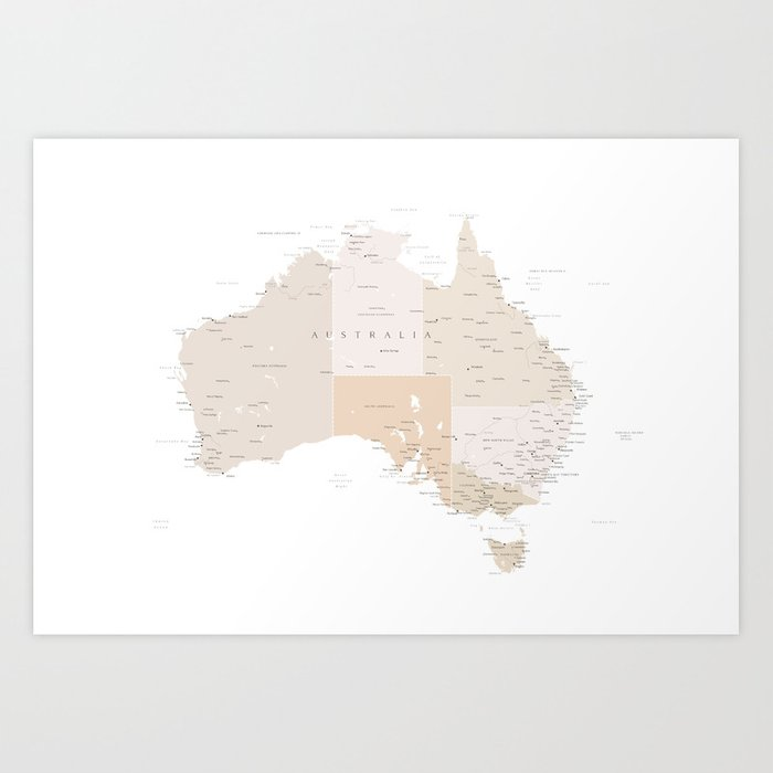 Map of Australia with cities in beige and light brown Art Print
