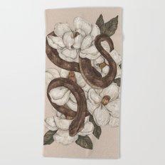 Snake and Magnolias Beach Towel