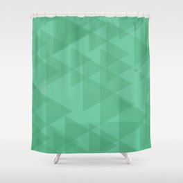 Light lime triangles in intersection and overlay. Shower Curtain