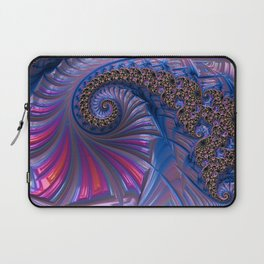 Curved Blue Fractal Laptop Sleeve