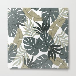 Summer seamless tropical pattern with bright plants and leaves on a delicate background. Hawaiian style. Modern abstract design for fabric, paper, interior decor. Metal Print