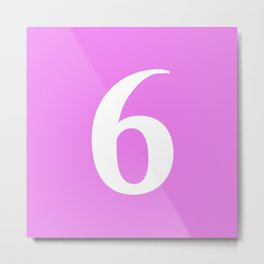 6 (WHITE & VIOLET NUMBERS) Metal Print