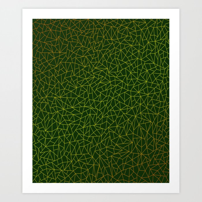 Gold Lowpoly in Green Background Art Print
