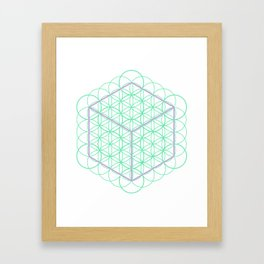 Sacred Geometry - glowing energy lines - cube and flowers Framed Art Print