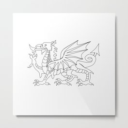 Welsh Dragon Outline Metal Print