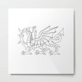 Welsh Dragon Outline Metal Print