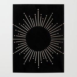 Sunburst White Gold Sands on Black Poster