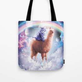 Rainbow Llama - Cat Llama Tote Bag
