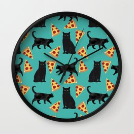black cat pizza cat lover pet gifts cute cats Wall Clock