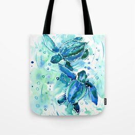 Turquoise Blue Sea Turtles in Ocean Tote Bag