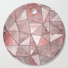 Soft Pink Coral Glamour Gemstone Triangles Cutting Board