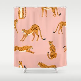 Cheetahs pattern on pink Shower Curtain