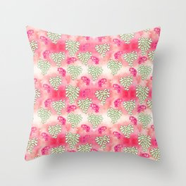 Pink and green soft coloured nature inspired print - flowers and leaves on watercolour Throw Pillow
