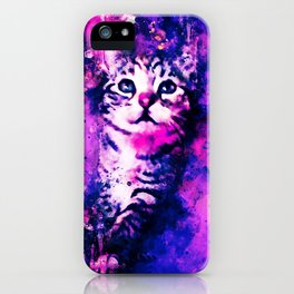 pianca baby cat kitten splatter watercolor purple pink iPhone Case