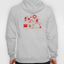 pattern with sea icons on white background. Seamless pattern. Red and gray Hoody