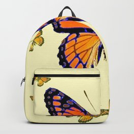 SPRING FLYING ORANGE MONARCH BUTTERFLIES ON CREAM Backpack