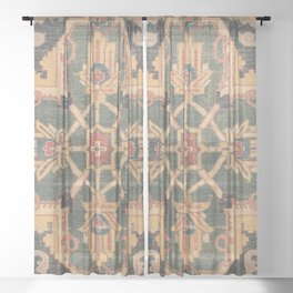 Geometric Leaves VI // 18th Century Distressed Red Blue Green Colorful Ornate Accent Rug Pattern Sheer Curtain