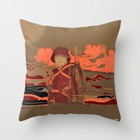 soldier Throw Pillows featuring Soldier ( drawing) by Joe Ganech