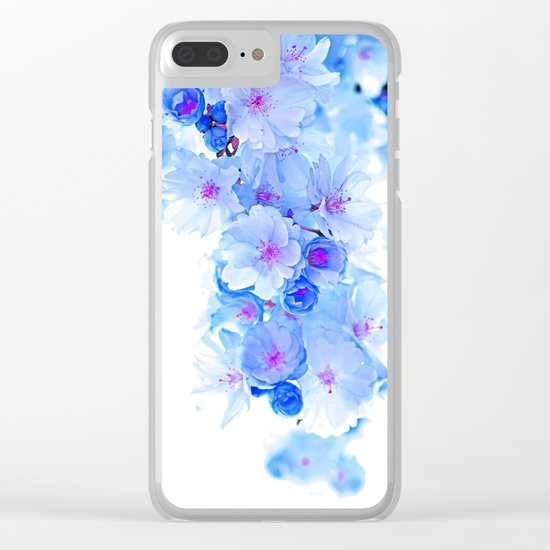Cherry Blossom.Blue Clear iPhone Case