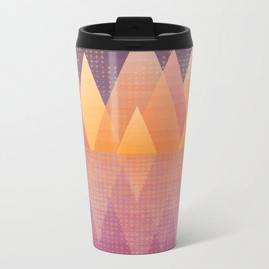 Geometric Lake Mountain III - Fall Metal Travel Mug